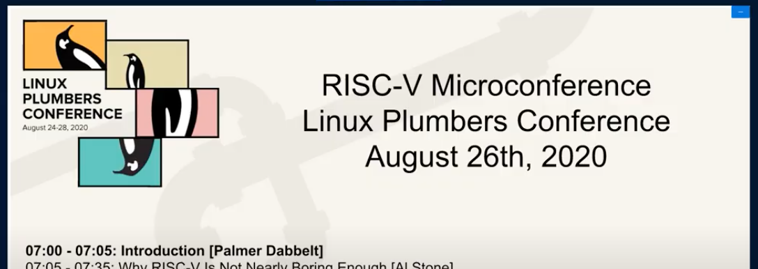LPC 2020 – RISC-V MC | Palmer Dabbelt, Linux Plumbers Conference (YouTube)