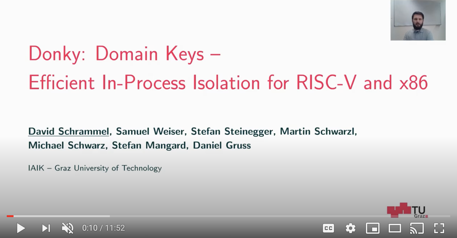 USENIX Security '20 – Donky: Domain Keys – Efficient In-Process Isolation for RISC-V and x86 | David Schrammel, USENIX (YouTube)