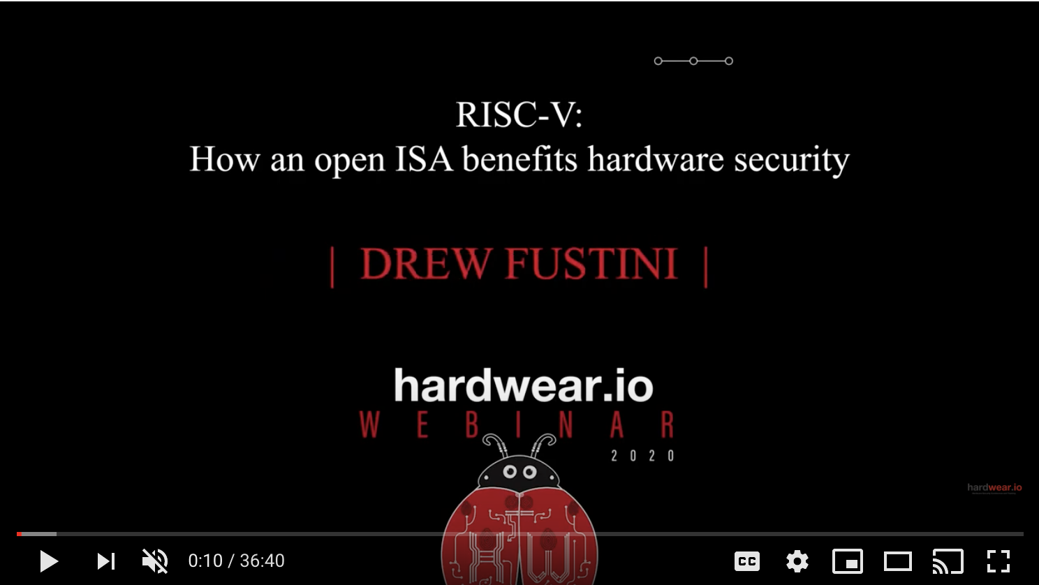 RISC-V: How an Open ISA Benefits Hardware Security | Drew Fustini | Hardwear.io Webinar (YouTube)