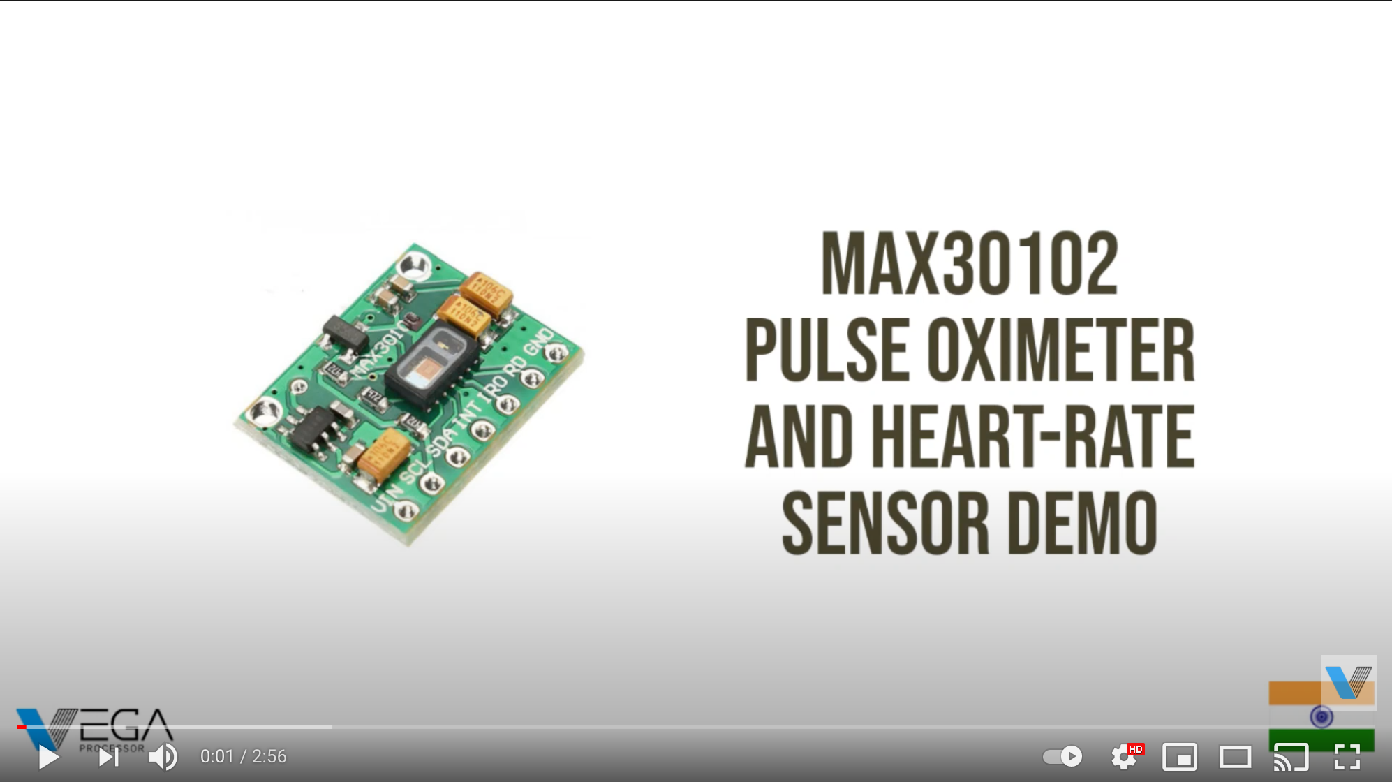 Video: MAX30102 Pulse Oximeter and Heart Rate Sensor Demo using VEGA Processor [ RISC-V ISA]